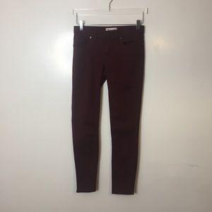 Madewell Skinny Burgundy Pants. Size 24